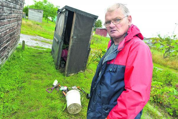 This Is Wiltshire: Terry Reynolds by one of the sheds which was broken into