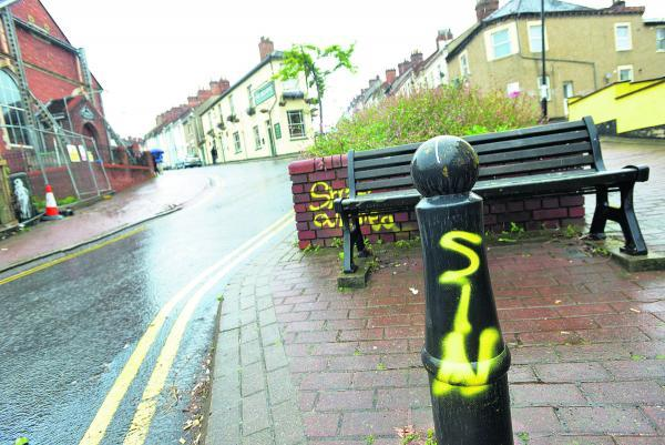 This Is Wiltshire: Graffiti and was sprayed along Cross Street and behind the new Morrisons