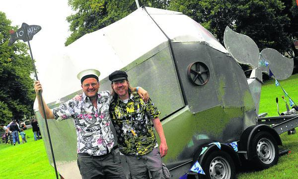 This Is Wiltshire: From left are Jake Oldershaw and Greg Morss with their whale cinema for families to step inside