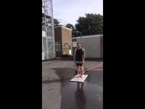 This Is Wiltshire: Trowbridge Fire Station watch manager Neil Hiscock ready for his ice bucket challenge
