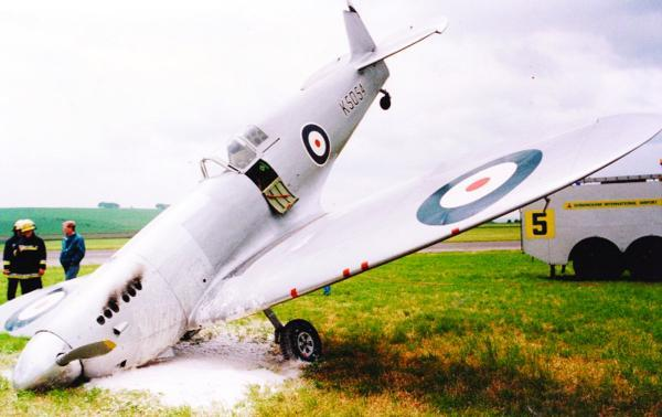This Is Wiltshire: Ten years in the making, Clive's unique silver Spitfire suddenly swerved out of control after what appeared to be a textbook landing and ended nose down at Wroughton airfield in 1984