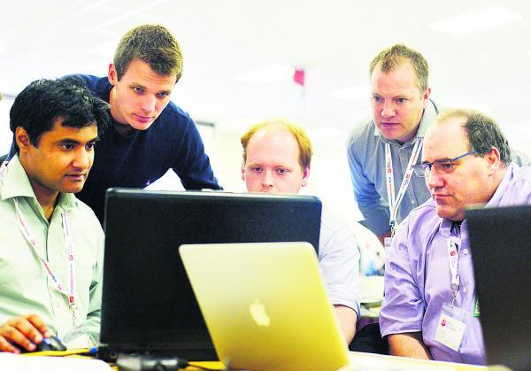 This Is Wiltshire: Fauzan Mirza, Jake Badman Rob Smith, Martin Greenaway and Scott White at the cyber camp at the Defence Academy