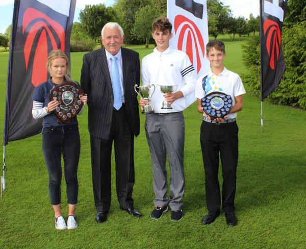 This Is Wiltshire: Hills Group chairman Alan Pardoe with Alexandra Feltham, left, Max Drayton and Connor Askey