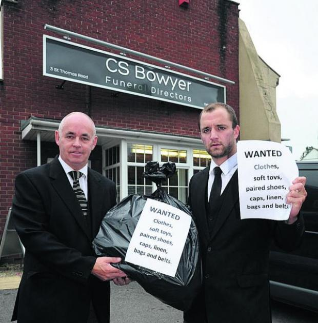 This Is Wiltshire: Funeral directors Neil Crook and Adam Bewley launch the campaign in memory of Harry Dodd