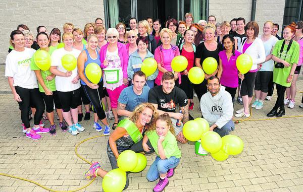 This Is Wiltshire: Karen Hyde with everyone who came along to sample FitSteps and support the Prospect Hospice appeal