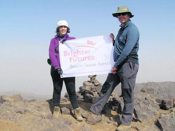 This Is Wiltshire: Maria Moore, deputy chief executive/ director of finance at the GWH, who climbed through the Atlas Mountains for the hospital's breast cancer appeal and raised more than £9,000, pictured with her partner Dorian Thomas.