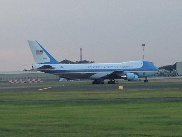 This Is Wiltshire: Air Force One taxiing at RAF Fairford this evening