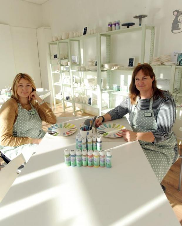 This Is Wiltshire: Leanne Murphy, shown with friend Caroline Kean in 2012, has now closed the Pottery Painting Company in Devizes