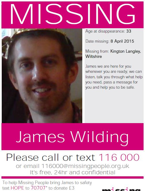 ... This Is Wiltshire: The missing poster issued in a bid to find James Wilding - 3695348