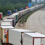 This Is Wiltshire: Lorries parked on the M20 in Ashford, Kent, under Operation Stack