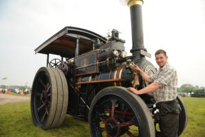 Matt Farwell with the 1915 engine Ben Lomand, a Marshall engine, at the Selwood Steam and Vintage Rally at Southwick. Pics Trevor Porter 56915 4.