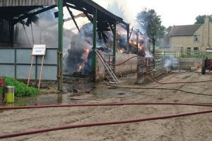 The scene of the barn fire in Corsley on Saturday. Photo Wilton Fire Station