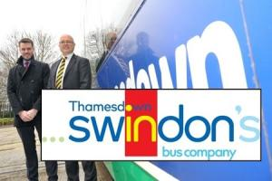 Thamesdown GM Alex Chutter and MD Andrew Wickham with the new logo.