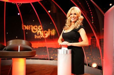 Melinda Messenger on the set of her new show