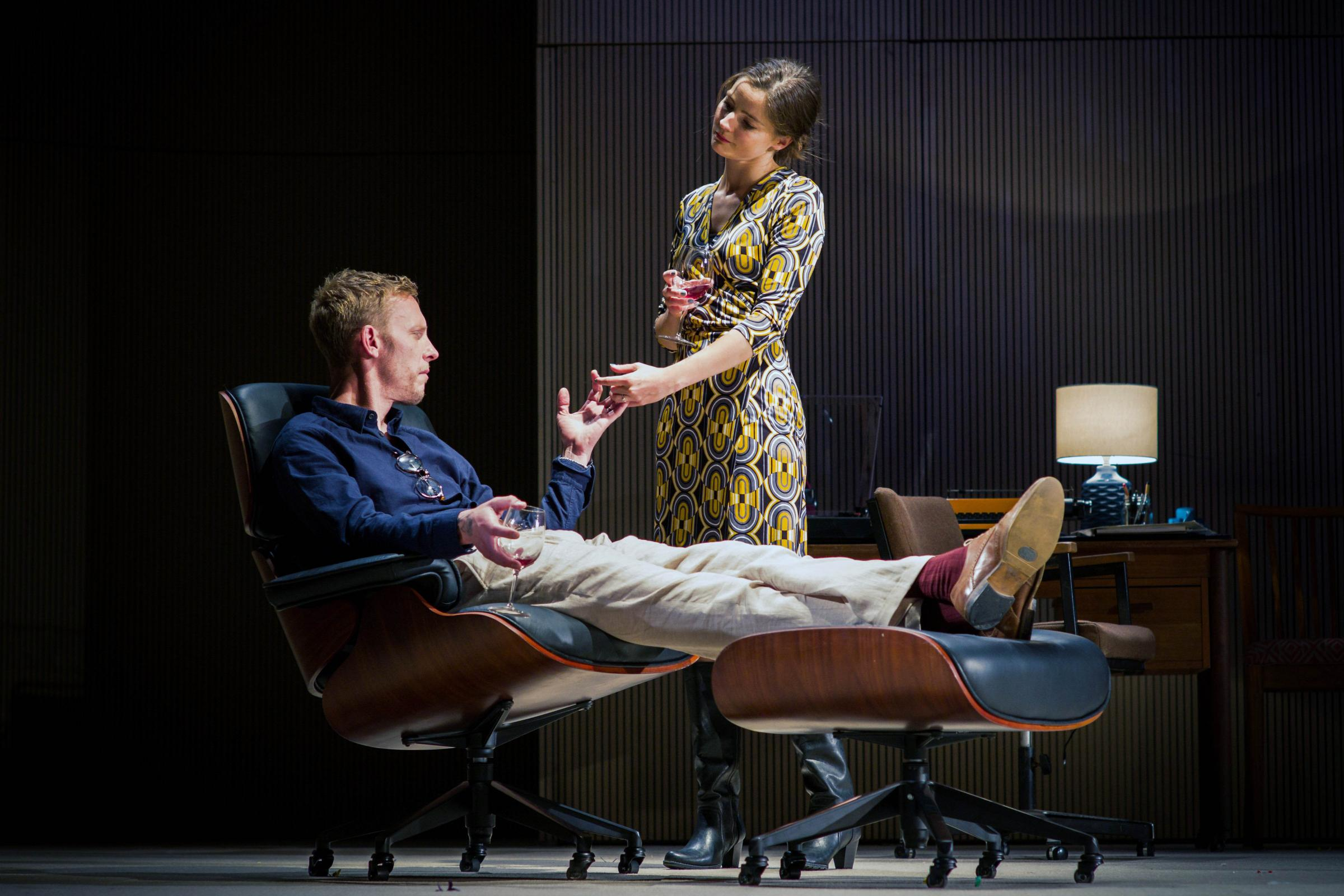 Laurence Fox (as Henry) and Flora Spencer-Longhurst (as Annie). Dress Rehearsal of The Real Thing by Tom Stoppard (a co-production by Cambridge Arts Theatre with Theatre Royal Bath and Rose Theatre, Kingston). Cambridge Arts Theatre. Cambridge, Cambridges