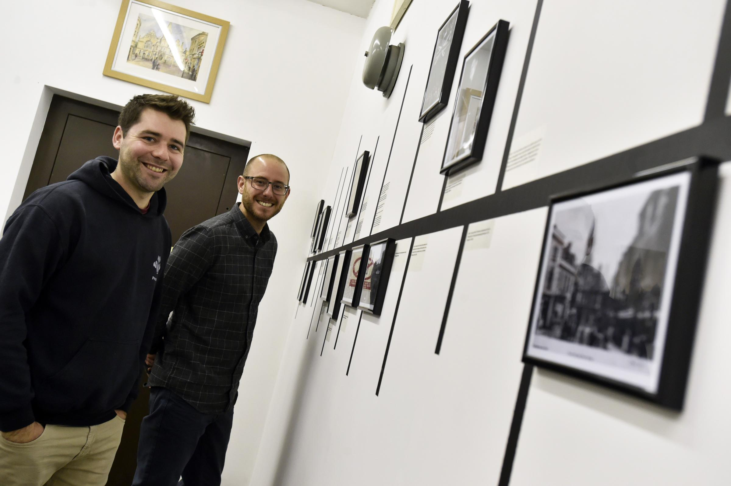 L-R Joe Coles and Craig Enderby Team Leaders for the Princes Trust. Young people from Princes trust have been renovating Trowbridge Town Hall, they have put up a timeline of the hall's history Photo: Diane Vose DV5899/2  Nov 2017