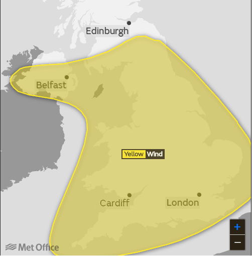 Met Office yellow warning still in force as wind hits 60mph overnight