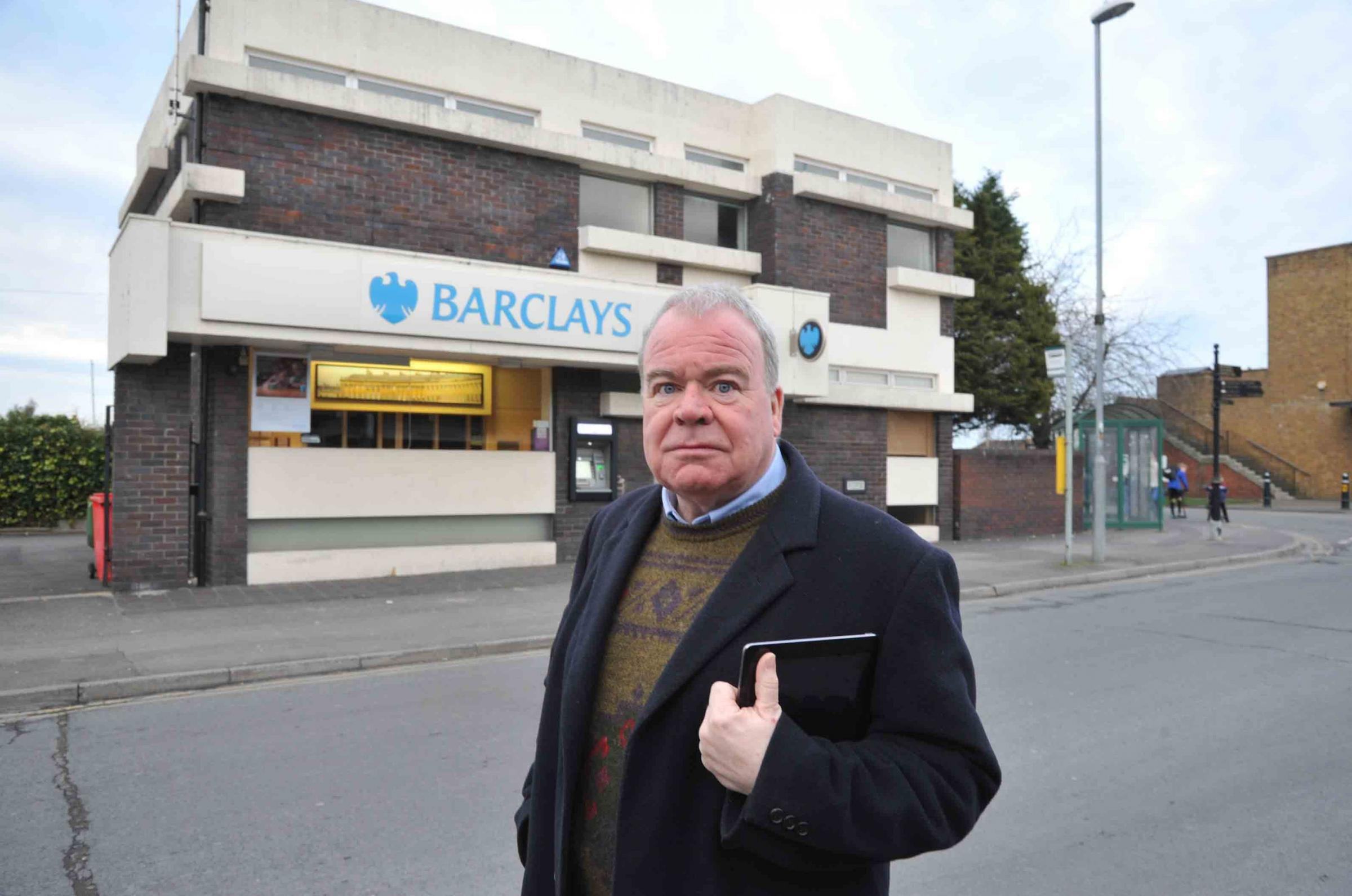 Westbury Mayor Gordon King angry that Barclays is  now to close. Photo Trevor Porter 59350 3..
