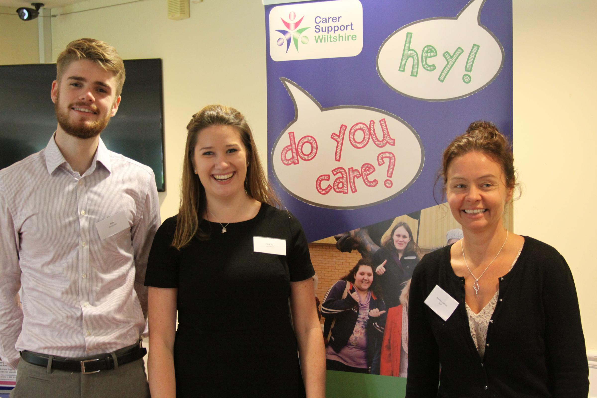 Andrea James, Young Adult Carers Supporter Worker at Carer Support Wiltshire with Gabrielle Hodnett and Billy Wheeler from the Nationwide Graduate team.