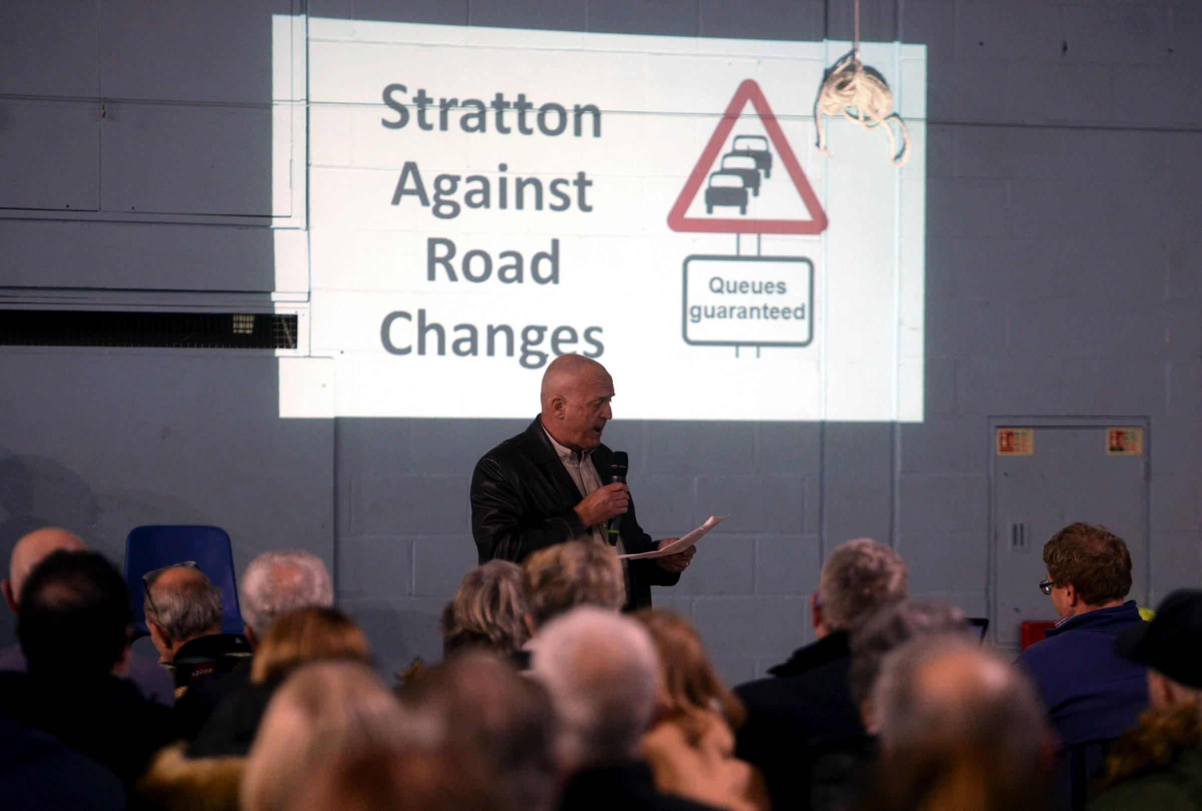 Stratton Against Road Changes Secretary Ron Fox addressing the packed audience at the SARC meeting held at Grange Leisure, Stratton, Swindon, Sunday 21st January.