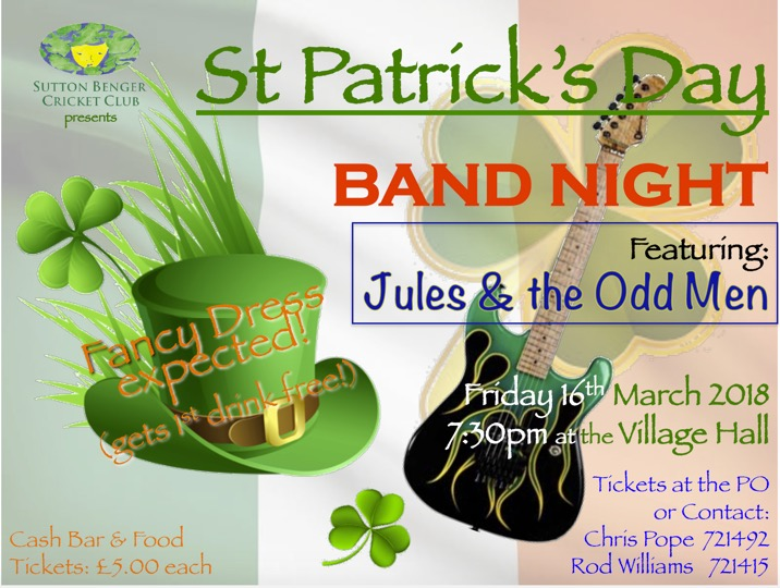 St Patrick's Day Band Night - Event has been cancelled