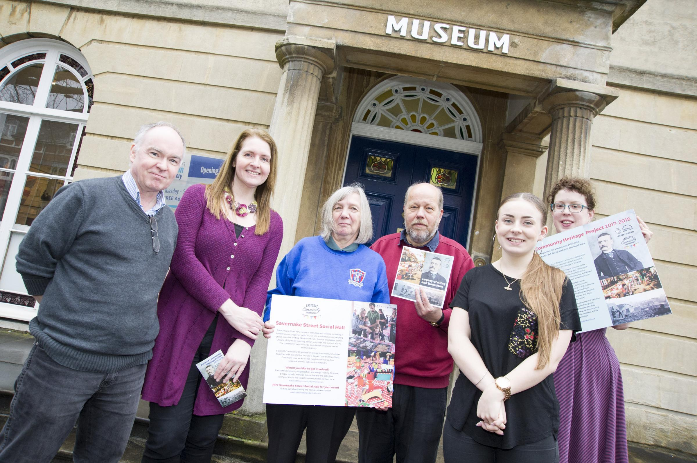 Eastcott Community Organisation wants pre-launch photos of their members and their art exhibition that celebrates the history of Eastcott at the Swindon Museum and Art Gallery..left 2 right .Pic - Rob Tomkins, Caroline Davies-Khan, Carrie Hayward, Steve H