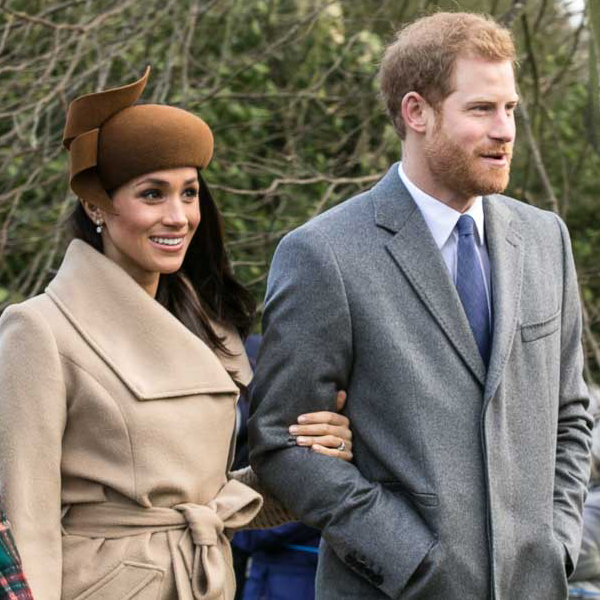 Prince Harry and Meghan Markle going to church at Sandringham on Christmas Day 2017 Pic: Mark Jones