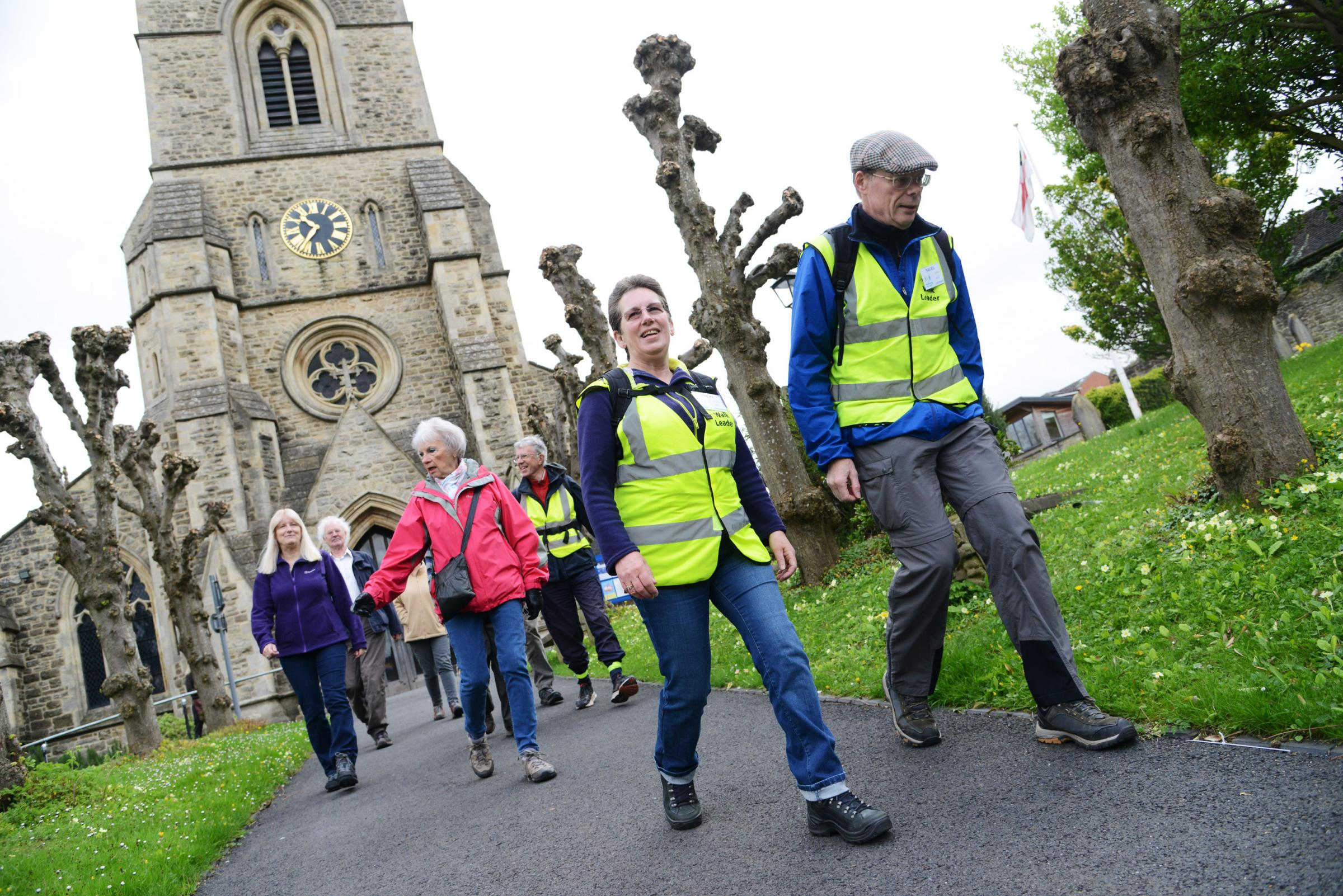 Walkers meet at Christ Church for a new Old Town Step Out Swindon health walk. Picture by THOMAS KELSEY