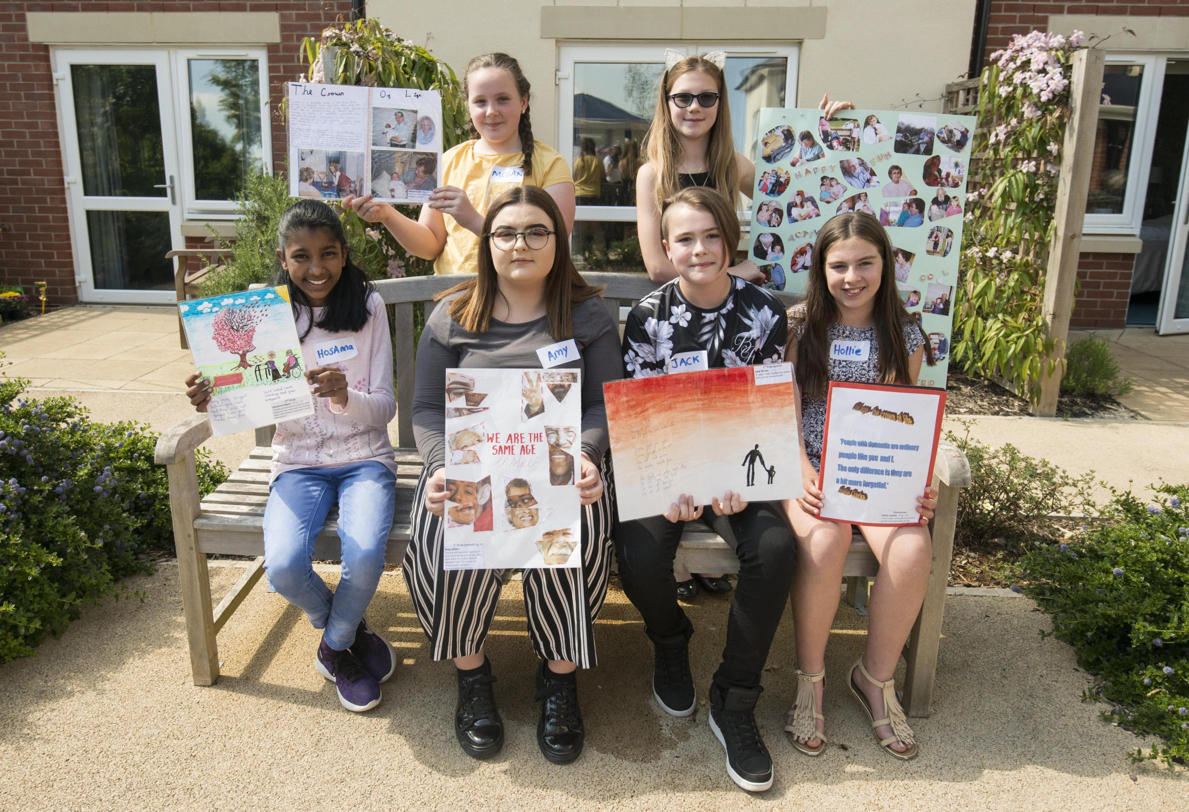 Winners of Art compertition at Abbey House care hone Pictured Back l-r Megan and Katie. Front l-r Hosanna, Amy, Jack, and Hollie19/05/18Pictures Clare Green/ www.claregreenphotography.com