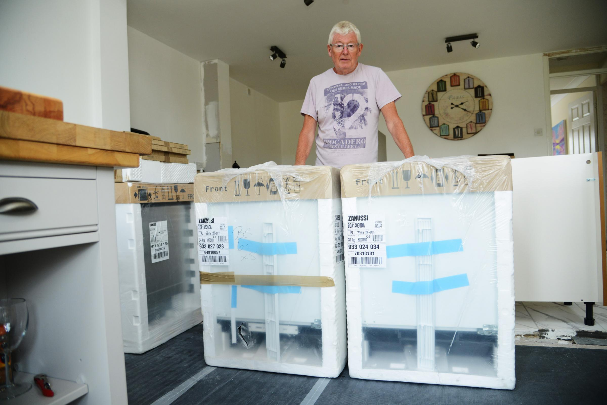 James Moore believes he was sold a dangerous fridge and freezer. Picture: Thomas Kelsey.
