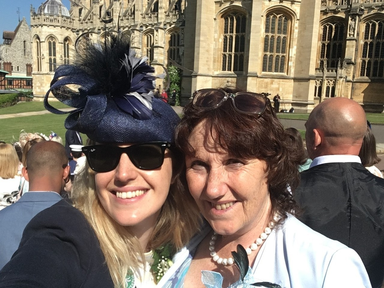 Deborah King and her duaghter Stephanie at the royal wedding in Windsor.
