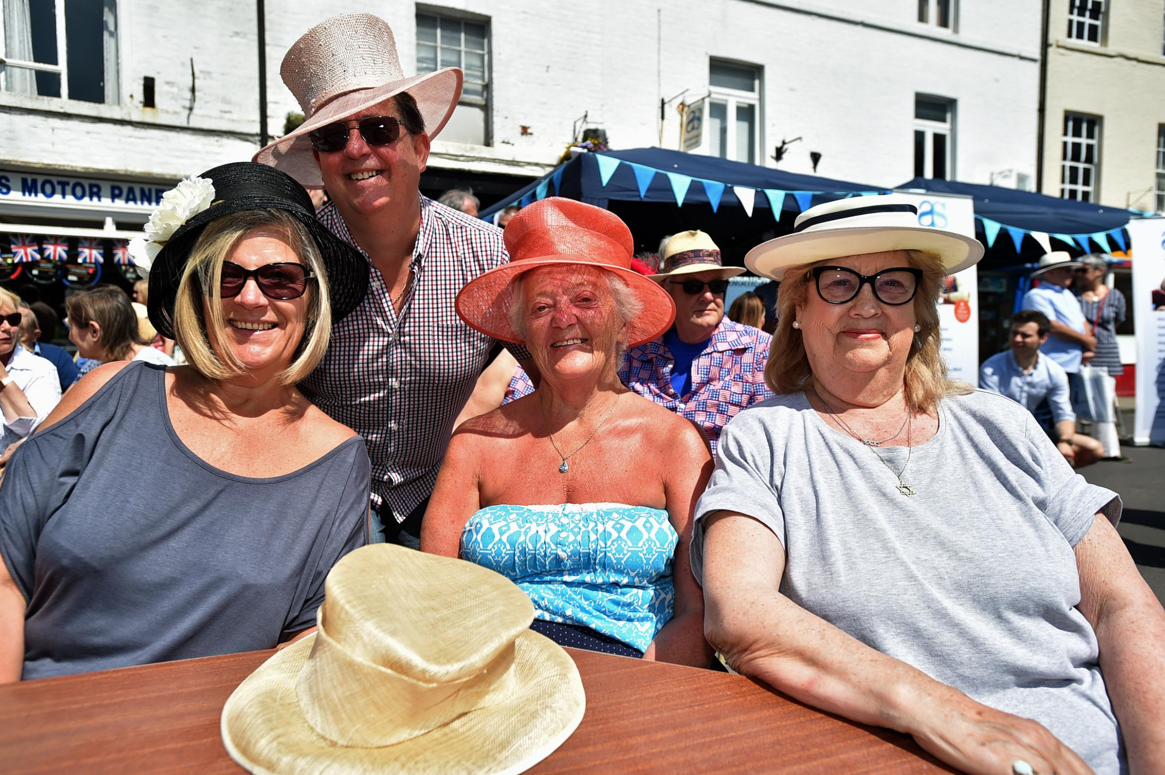 L-R Tracy Wilson, Paul Wilson, Kathy Kearne and Jeannette Von Berg celebrate the Royal Wedding of Harry and Meghan at Sidmouth Street Devizes street party Photo: Diane Vose