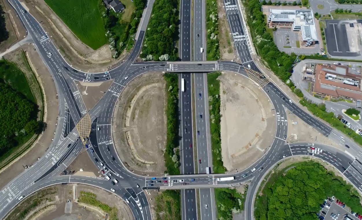 Jake Sylvester's drone footage of the Junction 16 roundabout.