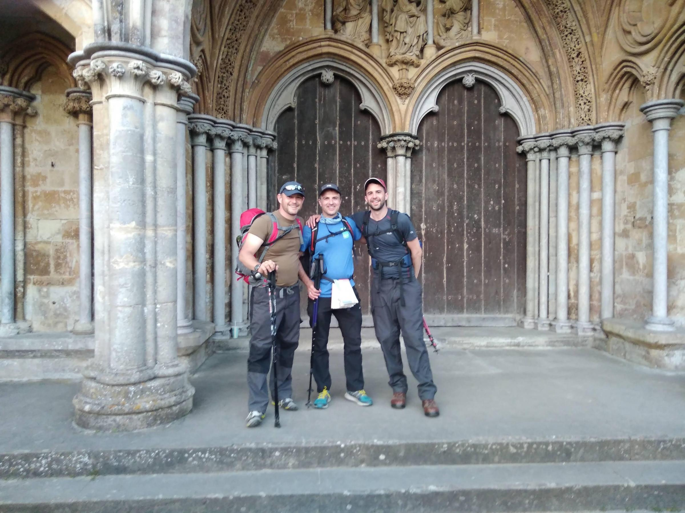 Steve Dewar, Dan Webb and James Vaughton, of Wiltshire Youth for Christ, at Salisbury Cathedral.