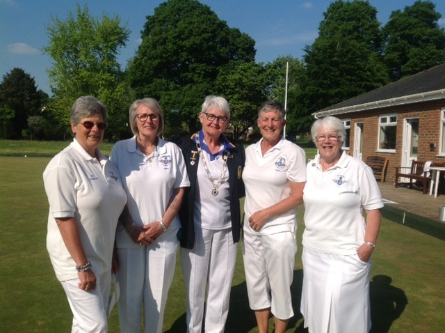 Ladies county fours finalists - Supermarine ladies, from left to right: Ann Andrews, Nicki Kemble-Young, Dawn Edwards (ladies president), Susan Griffiths (skip) and Cheryl Walker