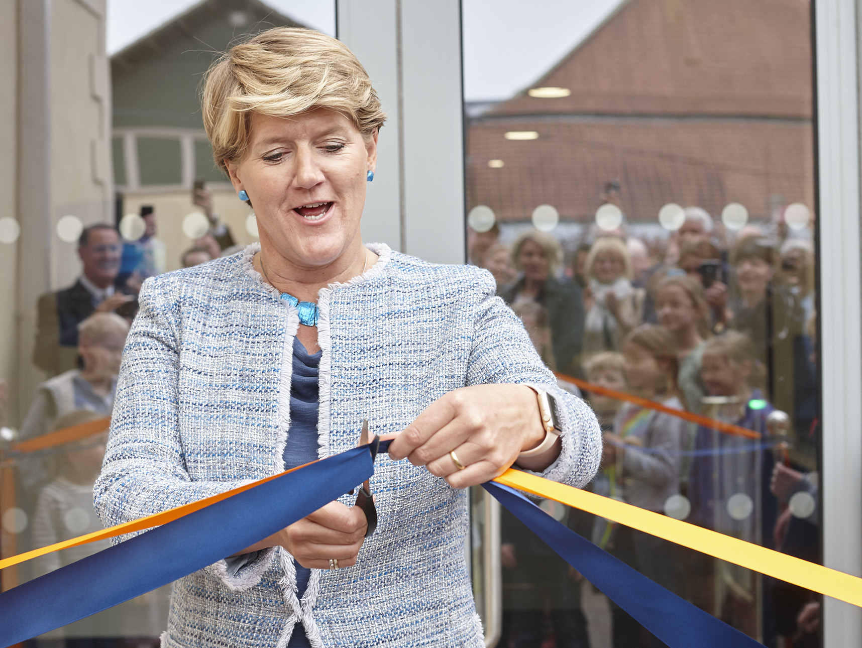 Clare Balding cutting the ribbon to St Mary's Calne new sports complex. Photo: Ian Scaramanga