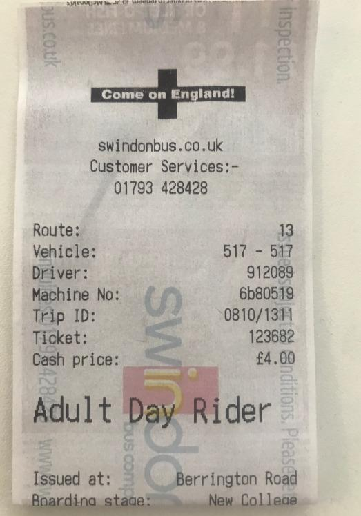 Swindon Bus Company's tickets support England