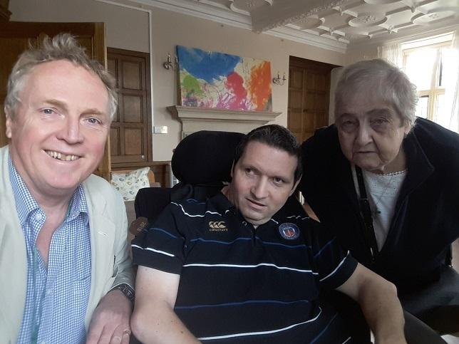 Dr Brian Mathew with Ann Keat and her son Richie.