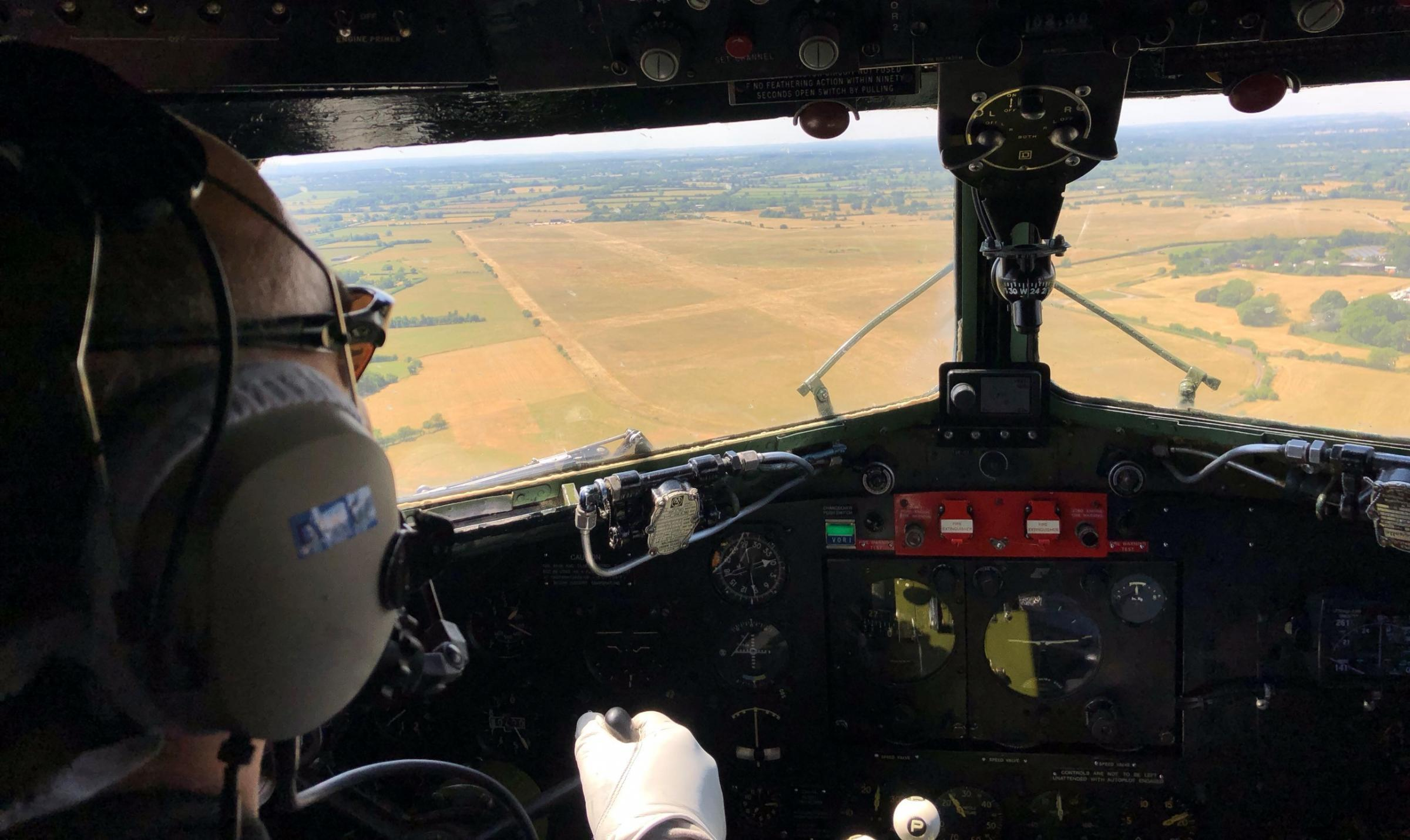 The view from BBMF Dakota Kwicherbichen of former RAF Blakehill Farm shortly after the RAF 100 Flypast in London