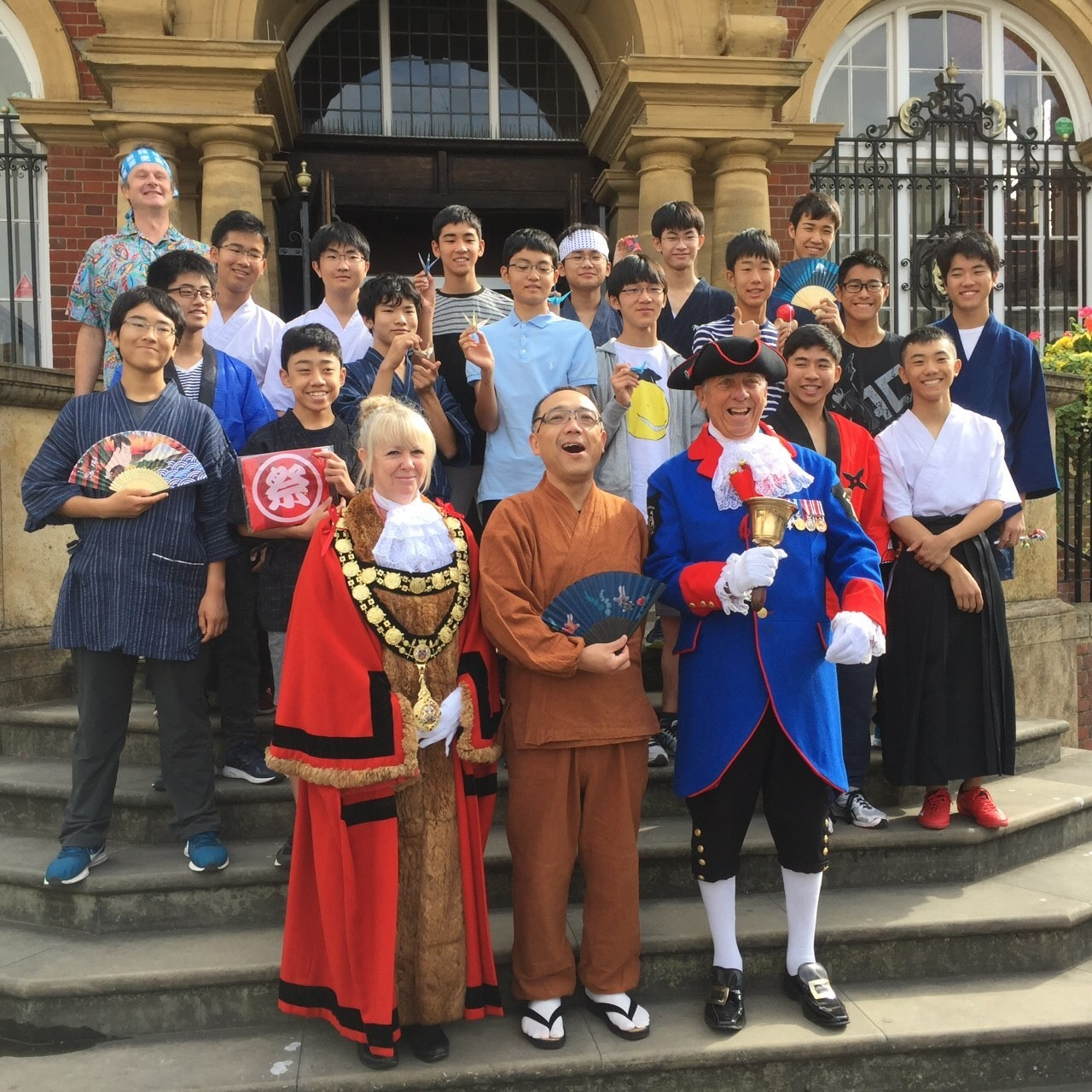 Japanese students and thier teachers outside Marlborough town hall
