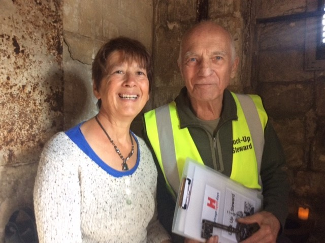 Cllr Alex Kay, the Mayor of Bradford on Avon, in the Town Bridge lock-up with volunteer Rod Johnson