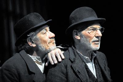This Is Wiltshire: Patrick Stewart, right, and Ian McKellen star as Vladimir and Estragon in Waiting For Godot