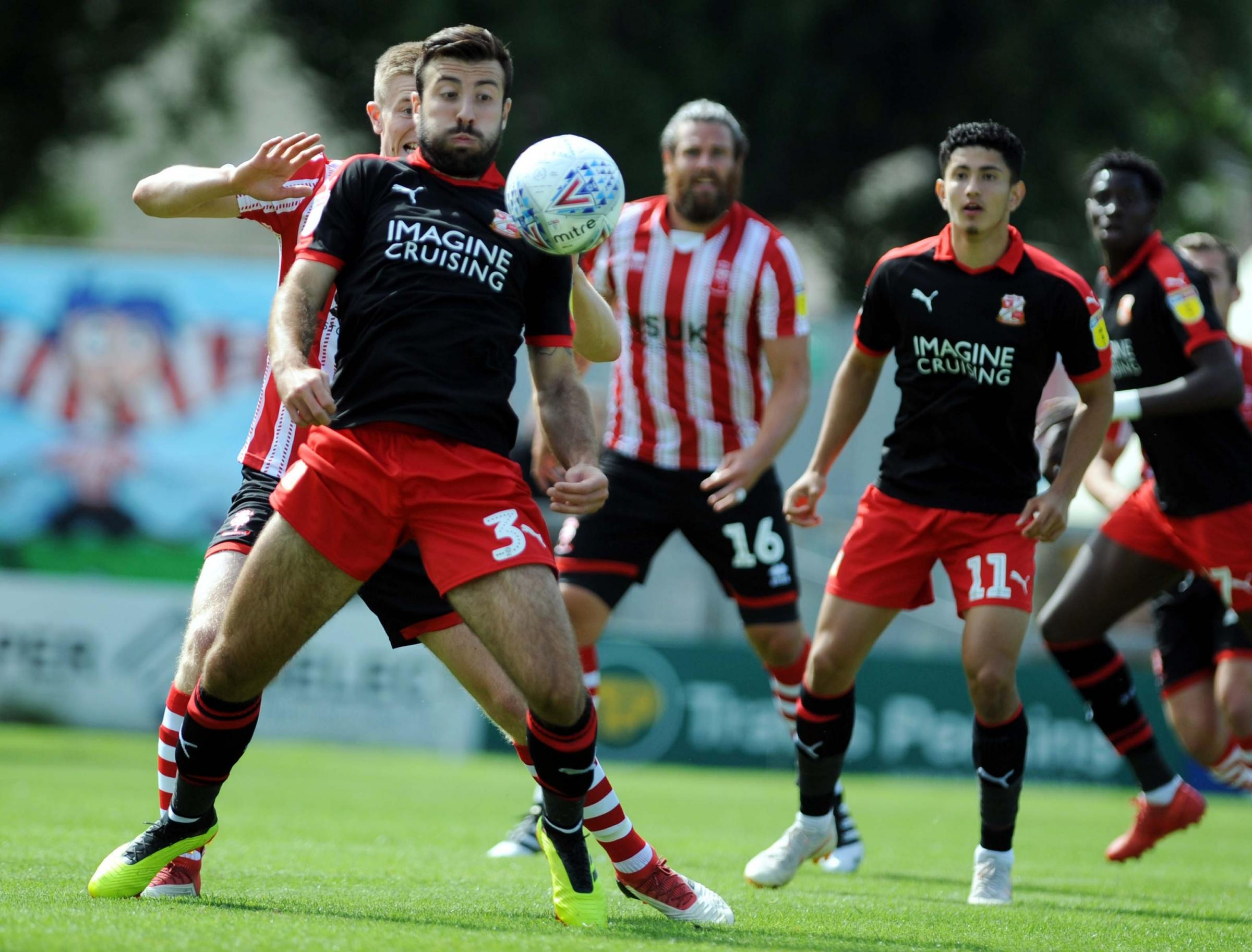 Lincoln v STFC       Pic Dave Evans      12.8.18.Michael Doughty controls the ball with his chest..