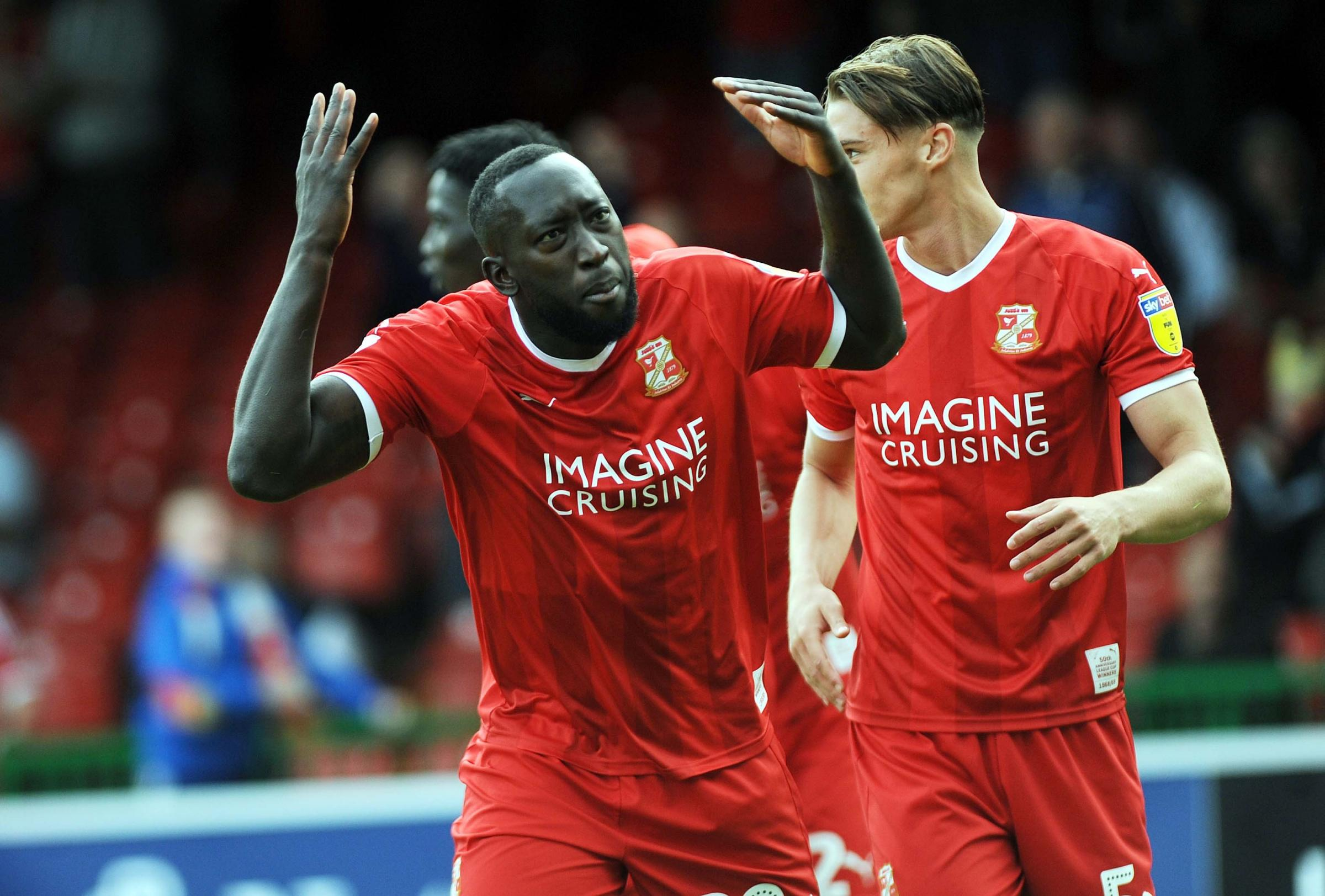 STFC v Bury             Pic Dave Evans           15..09.18.Toumani Diagouraga celebrates Town's equaliser with the fans...