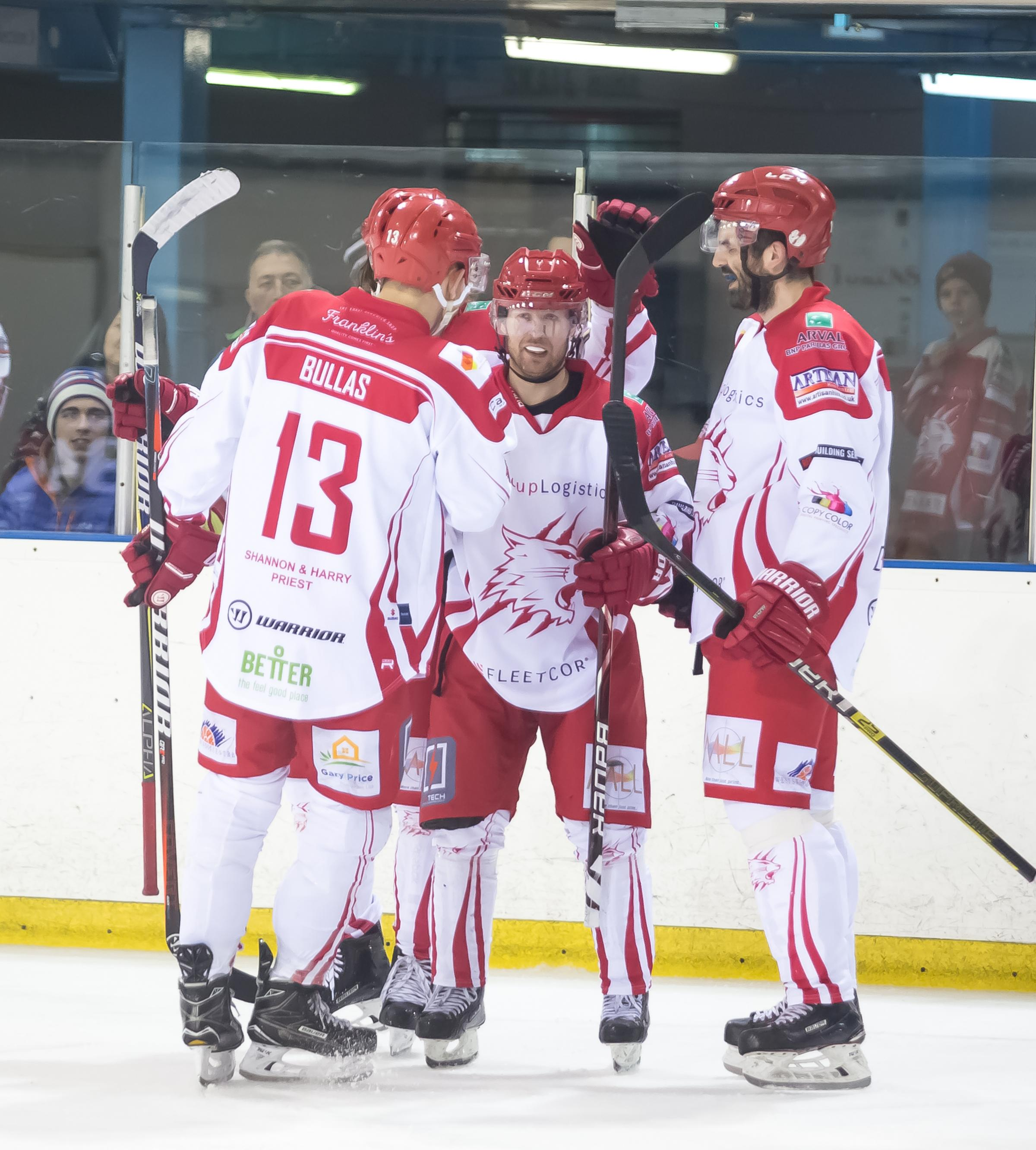 Swindon Wildcats Vs MK Thunder, Picture Ryan Ainscow, 05.01.18 Sam Bullas, Jonas Hoog, Aaron Nell