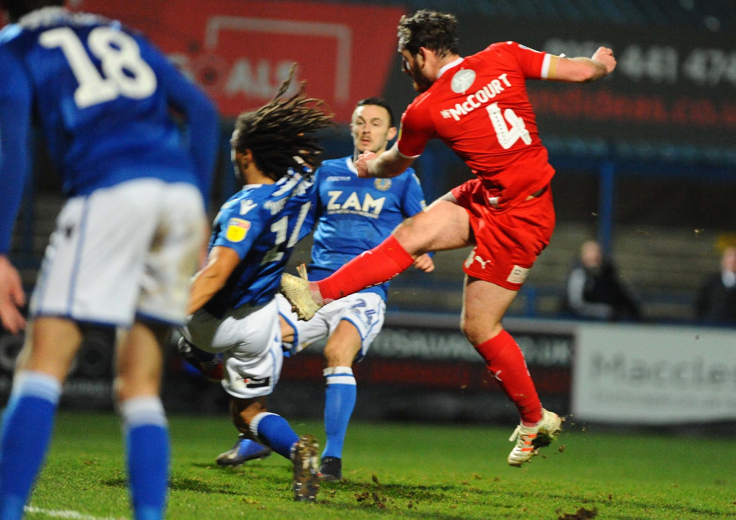 Macclesfield v STFC        Pic Dave Evans      05.01.2019.Jak McCourt fires home Town's late winner..
