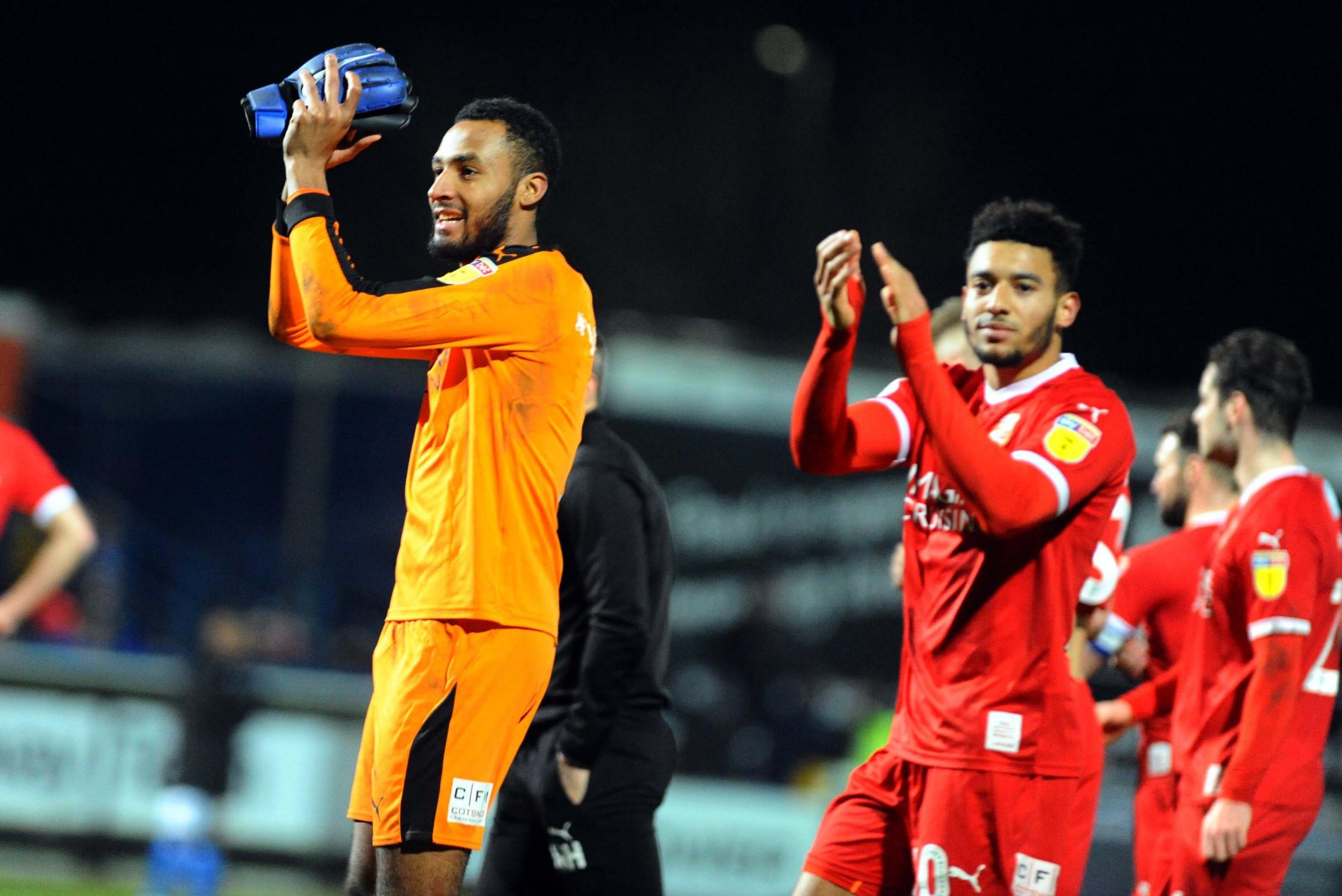 Macclesfield v STFC        Pic Dave Evans      05.01.2019.Lawrence Vigouroux joins colleagues in applauding Town's travelling supporters..