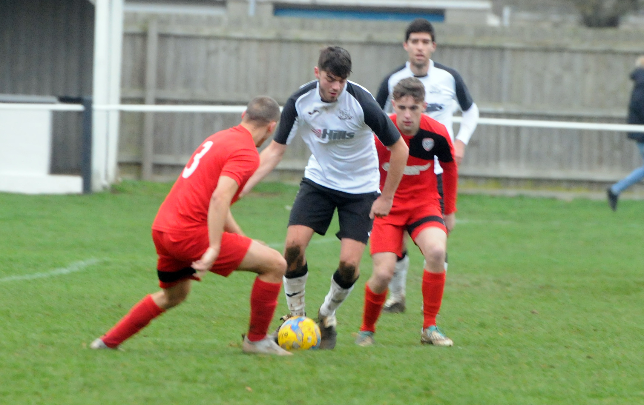 Bill Boakes (white) on the ball for Calne Town during their 5-0 win at home to Radstock Town on Saturday. Photo: Siobhan Boyle SMB2611/1