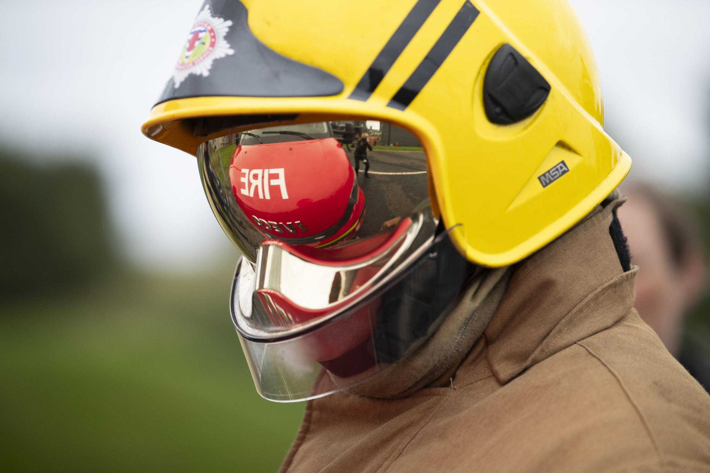 A firefighter at work