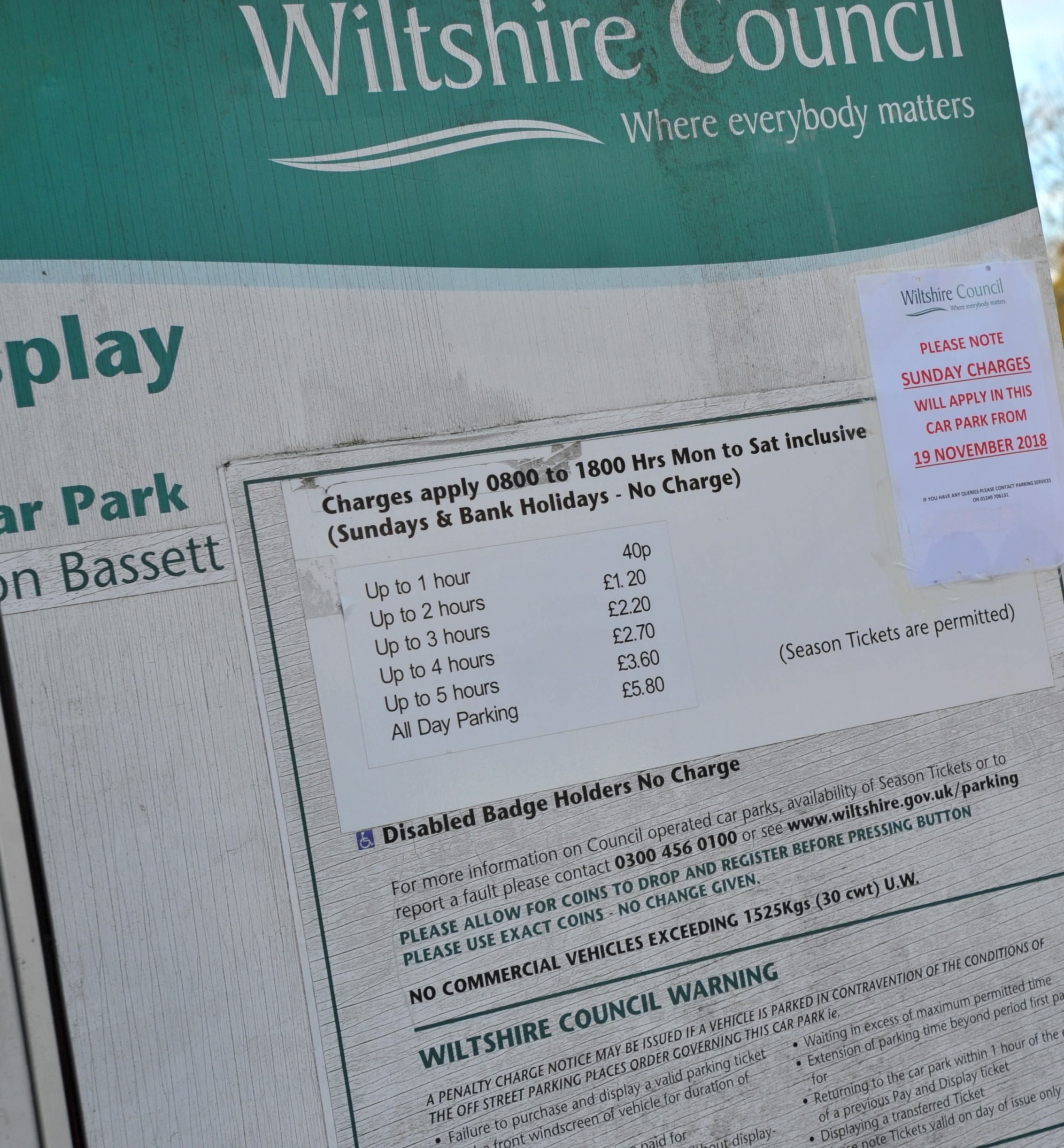Wiltshire Council introduced car parking charges in November.